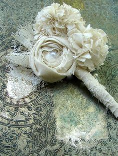 Fabric Flower Boutonniere vintage wedding by AutumnandGraceBridal good ideas