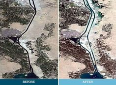 A before and after aerial shot of the New Suez Canal by Maersk Line, the biggest users of the canal (Facebook/Maersk Line)