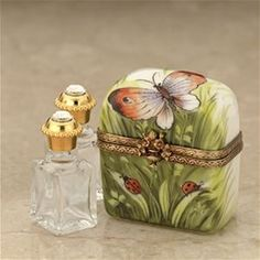 Limoges Butterfly Trunk Box with 2 Perfume Botlles The Cottage Shop