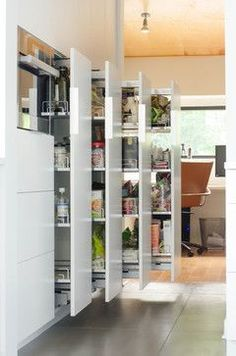 Small Kitchen Remodeling: Pantry pull out ideas Organization Storage Solutions potentially for below the stairs