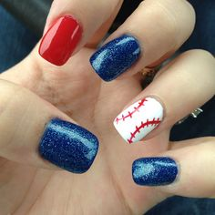 baseball nails. Except gold instead of red. Obviously. :)   Think you could do this for the brewers game, mags?
