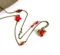 Bola de grossesse bohème chic bronze rouge, cadeau femme enceinte, cœur ailé, étoiles , bouddha : Collier par color-life-bijoux