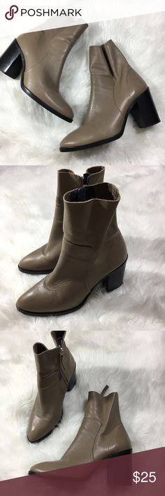 "TopShop tan leather sock boot ankle block heel Faux Leather, signs of wear on inner part of boots. Side zip, 3"" block heel Topshop Shoes Ankle Boots & Booties"