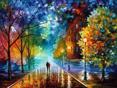 """Leinwand Wandkunst - Frische der Kälte – Landschaftsölgemälde auf Leinwand von Leonid Afremov. Feine Kunst Kunstwerk, Größe: 40 """"x 30"""" (100 x 75 cm)"""