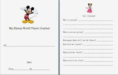 Disney Journal Idea for kids!  My take on a popular kids Disney journal