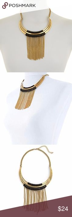 Chain Fringe Bib Necklace Statement Choker Gold Plated Hypoallergenic Alloy! High Polished! Beautifully Crafted Chain Fringe  Height4.9 inches Width4.8 inches Length13 inches Clasplobster-claw-clasps  Comes Boutique Packaged with Care NWOT direct from makers  tags. trendy. statement. jewelry. necklace. bling. tribal. boho. festival. unique. gold. fringe. chain. punk. rock. goth. edgy. urban. street style. chic. plated. sensitive skin. nickel free. Jewelry Necklaces
