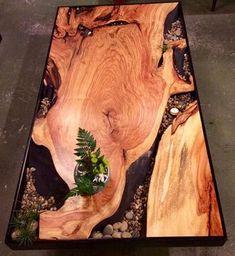 Обеденный стол из эпоксидной смолы и дерева