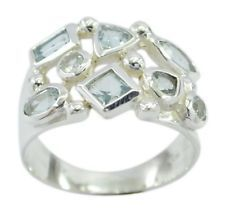 Blue Topaz 925 Sterling Silver Ring elegant Blue handcrafted AU gift