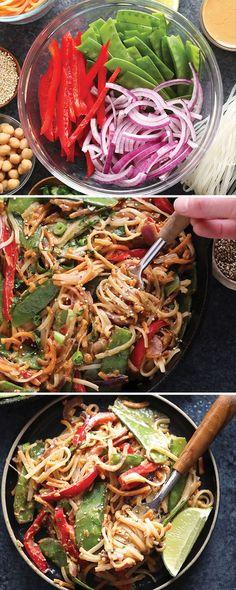 Vegan Pad Thai with Thai Peanut Sauce - Fit Foodie Finds