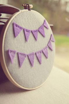 purple bunting embroidery hoop art