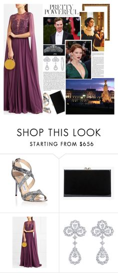 """""""Royal Crossover; Attending the pre-wedding dinner of Edward, The Prince of Wales and Ms. Constance McClark hosted by King William V at Buckingham Palace"""" by maryofscotland ❤ liked on Polyvore featuring Jimmy Choo, Charlotte Olympia, Kane, Zuhair Murad and Harry Winston"""