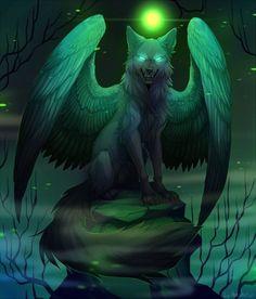 Fantasy Wolf, Fantasy Beasts, Dark Fantasy Art, Cute Fantasy Creatures, Mythical Creatures Art, Magical Creatures, Anime Wolf Zeichnung, Animal Espiritual, Anime Wolf Drawing