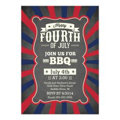 Vintage Chalkboard Stripe 4th of July Party Announcements