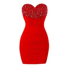 Fluorodine Women's Beaded Sweetheart Sleeveless Mini Bodycon Prom... ($65) ❤ liked on Polyvore featuring dresses, mini dress, sweetheart neckline prom dress, red dress, red cocktail dress and red sleeveless dress