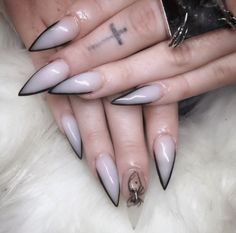 The Best Stiletto Nails DesignsStiletto nail art designs are called claw or claw nails. These ultra-pointy nails square measure cool and horny however they'll not be for everybody. As there's a much bigger surface, sticker nails permit United States Witchy Nails, Goth Nails, Bling Nails, Fun Nails, Edgy Nails, Pointy Nails, Stiletto Nail Art, Dark Nails, Dark Nail Art