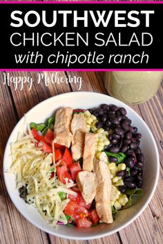 This Southwest Chicken Salad recipe is healthy, easy to make and family friendly. Great meal for a gluten free dinner, lunch or as an appetizer. Chipotle Ranch Dressing, Ranch Dressing Recipe, Salad Dressing Recipes, Chicken Salad Ingredients, Chicken Salad Recipes, Lunch Recipes, Real Food Recipes, Free Recipes, Best Mexican Recipes