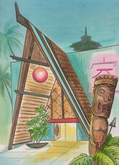 """International House of Century by sophista-tiki Tiki Man, Tiki Tiki, Tiki House, Tiki Hawaii, Tiki Bar Decor, Hawaiian Decor, Vintage Tiki, Tiki Room, Retro Art"