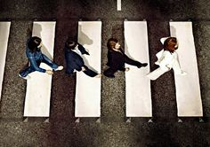 In 1969 The Beatles released their Abbey Road album. The sleeve has one of the most iconic images in the history of photography. The above photo however is a rarer, seldom seen version taken from above. Abbey Road, Ringo Starr, George Harrison, Paul Mccartney, John Lennon, Great Bands, Cool Bands, The Beatles, Beatles Albums