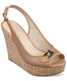 Tommy Hilfiger Women's Kaluwa Platform Wedge Sandals-Sable or Black - $ 69.99
