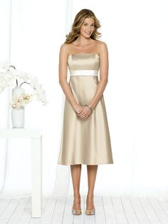 Champagne A-Line Strapless Zipper Tea Length Prom Dresses With Sash