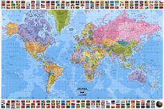 Mapa mundial - Político Póster