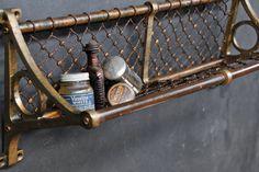 Victorian Train Brass Mesh Wall Basket : 20th Century Vintage Furnishings & Design
