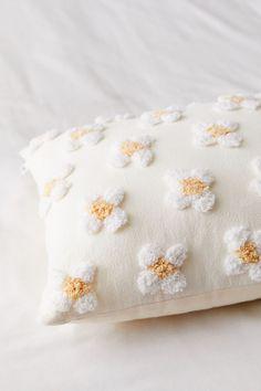 Shop Anaya Floral Tufted Throw Pillow at Urban Outfitters today. Diy Pillows, Decorative Pillows, White Throw Pillows, Small Pillows, Bohemian Room, Pillow Inspiration, Flower Pillow, Pillow Room, Punch Needle