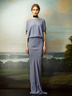 Rützou long dusty blue dress