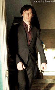 Sherlock thumbs up gif  it's funny cuz he looks like he's going upstairs. If u know what I mean.