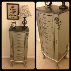 Metallic silver and black jewelry armoire by Furniture Alchemy- Modern masters paint, painted furniture, painted dresser, antique silver paint