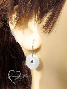 Initial Earrings - Handstamped Earrings - Letter Earrings - Customized Earrings - Gift for Her - Personalized Jewelry - Silver Earrings
