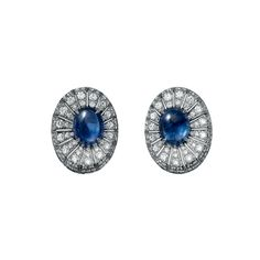High Jewelry earrings High Jewelry <br />Cartier Royal <br />earrings, platinum, cabochon-cut sapphires (3.76 carats and 3.92 carats) from Burma, brilliant-cut diamonds.