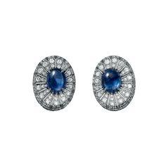CARTIER Orecchini di Alta Gioielleria Orecchini - platino, due zaffiri birmani cabochon, diamanti taglio brillante.