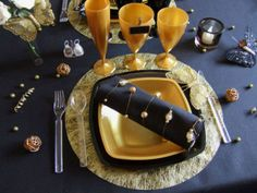 Déco de table noir & or