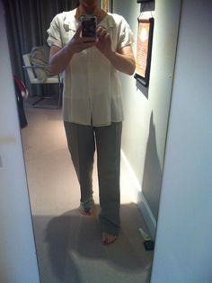Chloe Ivory blouse and ice blue silk Armani pants (from suit)