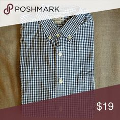That J.Crew Gingham Shirt! Ubiquitous J.Crew Factory navy gingham cotton shirt J. Crew Factory Shirts Casual Button Down Shirts
