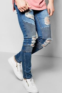 boohoo Super Skinny Biker Jeans With Extreme Rips