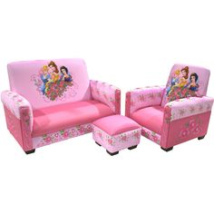 Disney - Princess Jeweled Gardens  Sofa, Chair and Ottoman Set