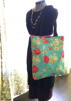 Beautiful Classic Vintage Floral Inspired Tote Bag in Customizable Colors. Perfect for Spring and Summer. Add some color and fun to your day