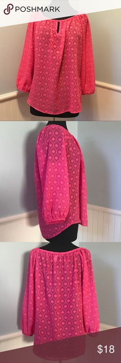 Francesca's Bubblegum Pink Blouse Size Large Francesca's Bubblegum Pink Blouse Size Large - Blue Rain brand from Francesca's - Long sleeve pink blouse - Wear to work with a pencil skirt or slacks, or jeans for a cute weekend look. - Fabric content in photos blue rain Tops Blouses