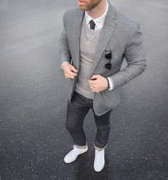 all of it // blazer, sunglasses, denim, sneakers, sweater, tie