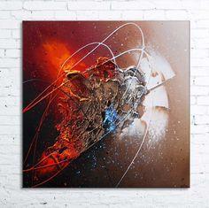 """Tableau abstrait contemporain """"ATRIA"""" peinture moderne acrylique toile en relief noir marron taupe cuivre rouge orange : Peintures par tableaux-abstraits-nathalie-robert"""