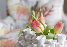 Spring buds fit perfectly in this beautiful sculptured vase from HomeGoods. Sponsored by Happy by Design.