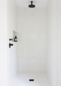 minimalist bathroom white shower w/ORB and shampoo niche Laundry In Bathroom, Bathroom Renos, Bathroom Interior, Small Bathroom, Bathroom Black, Bathroom Fixtures, Bathroom Images, Bathroom Ideas, Bathroom Designs