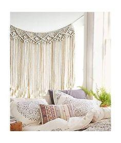 "Macrame Wall Hanging Wedding Backdrop Macrame Fringe Banner Home Dcor, 37"" Wx..."