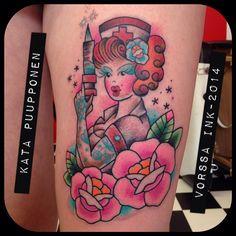 https://www.facebook.com/VorssaInk, http://tattoosbykata.blogspot.fi, #tattoo #tatuointi #katapuupponen #vorssaink #forssa #finland #traditionaltattoo #suomi #oldschool #pinup #nurse