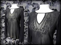 Goth Black Sheer Floral Beaded Bell Sleeve Top 12 Hippie Boho Witchy | THE WILTED ROSE GARDEN