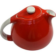 Hall 1940's Red & White Sani-Grid Potbelly Teapot