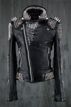Custom sheepskin Hedgehog Genuine Goat Leather Rider Jacket.