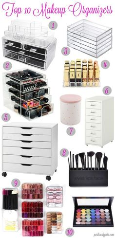 Top 10 Ways to Organize Your Makeup   Super Easy Cute and Cheap DIY Makeup Organization Ideas and Hacks For Bathroom And Storage As Well As Vanity and Your Room Or Drawer.  Some Of These You Can Get From The Dollar Store Or Ikea.  Ideas And Tips On How To Organize Acrylic, Brushes, Containers, Mason Jars, And Travel Makeup For Your Desk, Bedroom, On Dresser Or Off.